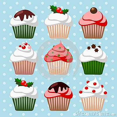 Christmas set of cupcakes and muffins,  illustrati