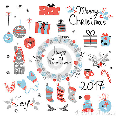 Free Christmas Set Graphic Elements With Wreath, Cake, Gingerbread House, Mittens, Toys, Gifts And Socks. Stock Photo - 79855780