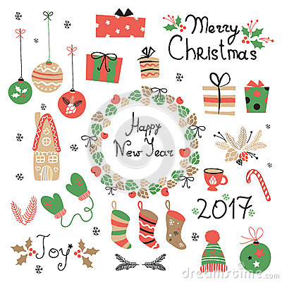 Free Christmas Set Graphic Elements With Wreath, Cake, Gingerbread House, Mittens, Toys, Gifts And Socks. Stock Images - 79855894