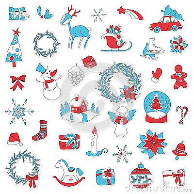 Free Christmas Set Icon Stickers Can Be Used For Advent Royalty Free Stock Photos - 103852528