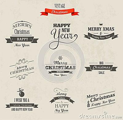 Christmas set - labels, emblems and elements