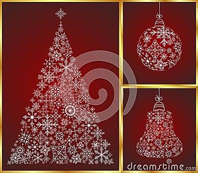 Christmas set pine, ball and bell