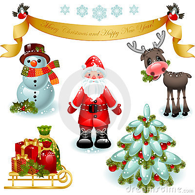 Christmas set. Santa claus with gifts and tree