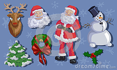 Christmas set with Santa, Rudolf, snowmen, fir-tree and mistleto