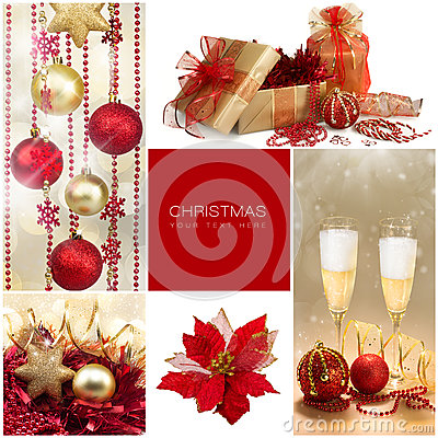 Free Christmas Set. Winter Holiday Gifts. Golden And Red Collage Royalty Free Stock Images - 45354089