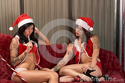 Christmas sexual games of young lesbian lovers