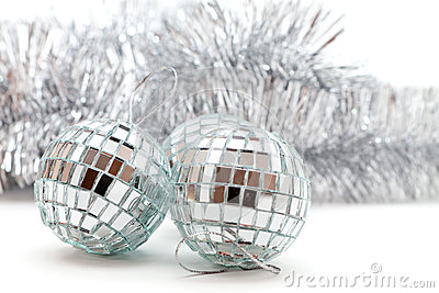 Christmas shiny balls and garlands