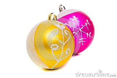 Christmas shiny balls of two colors