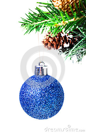 Free Christmas Shiny Blue Ball On Fir Branches With Decorations  Isol Stock Image - 32072811