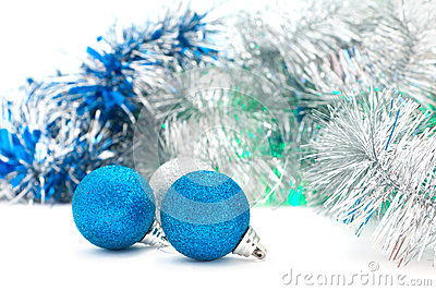 Christmas shiny  blue balls