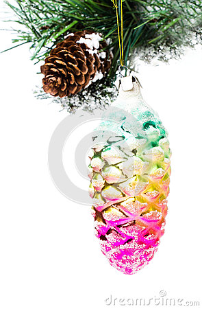 Christmas shiny colorful cone  on fir branches with snow decorat