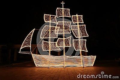 Christmas ship at night