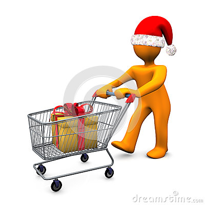Christmas shopper with trolley