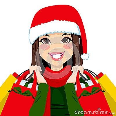 Christmas Shopping Brunette