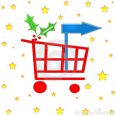 Free Christmas Shopping Cart Royalty Free Stock Images - 1353969