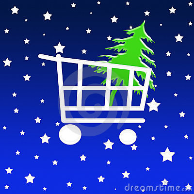 Free Christmas Shopping Cart Stock Images - 1353974