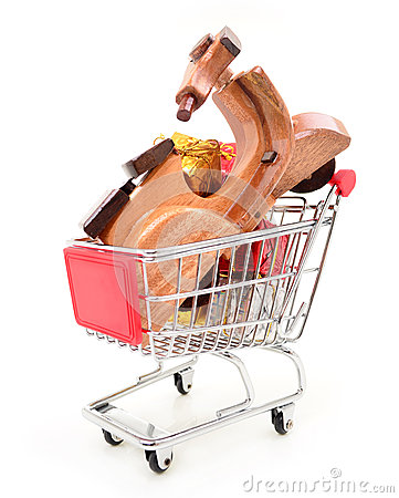 Christmas shopping cart with gifts and toys