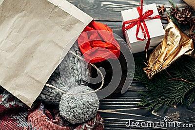 Christmas shopping concept. big sale. seasonal rustic background Stock Photo