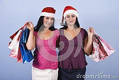 Christmas shopping happy women