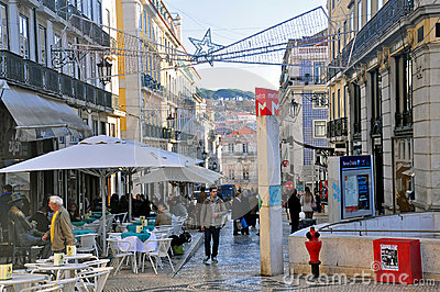 Christmas shopping in Lisbon Editorial Image