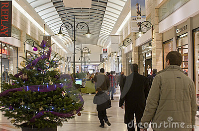Christmas shopping in mall Editorial Photo