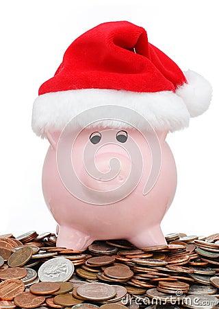 Christmas shopping piggy bank