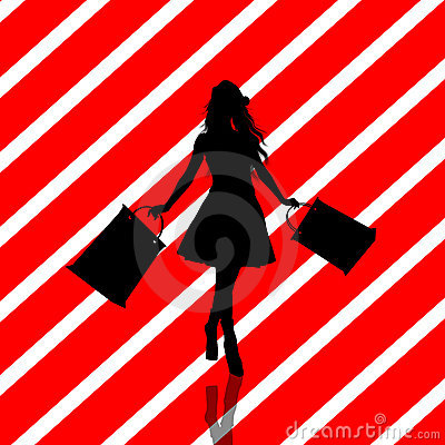 Christmas Shopping Silhouette Illustration