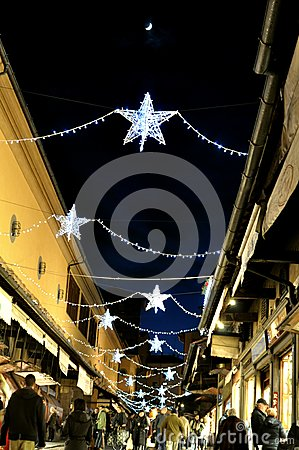 Christmas shopping on the streets of Italy Editorial Photo