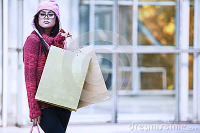 Christmas shopping in winter