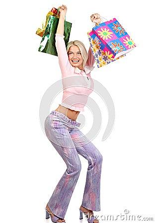 Free Christmas Shopping Woman Royalty Free Stock Image - 1279016