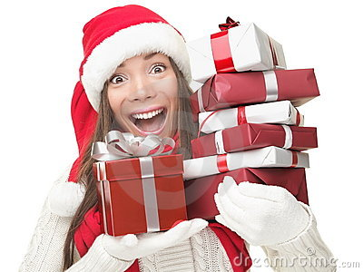Christmas shopping woman holding gifts