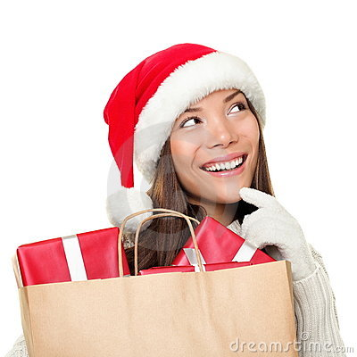 Christmas shopping woman thinking