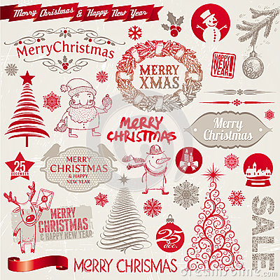 Free Christmas Signs, Emblems And Elements Royalty Free Stock Photos - 27453438