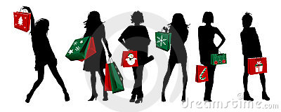 Christmas silhouette girls shopping
