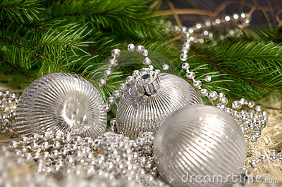 Christmas silver balls with pearls