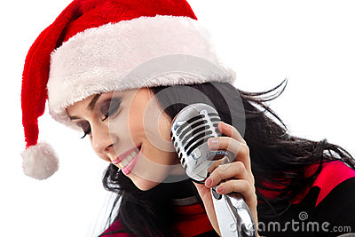 Christmas Singer with microphone