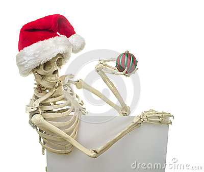 Christmas Skeleton Holding A Sign