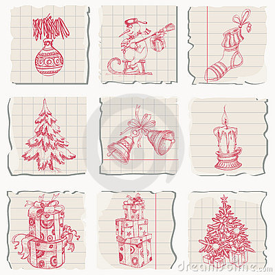 Christmas sketched icons