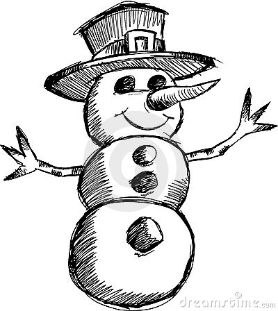 Christmas sketchy Snowman Vector