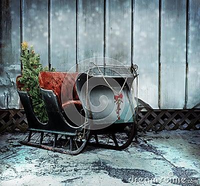 Christmas Sleigh Stock Image Image 34192861