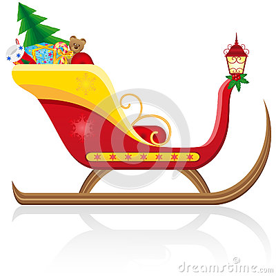 Christmas sleigh of santa claus with gifts