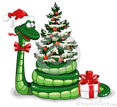 Free Christmas Snake Royalty Free Stock Photo - 25489435
