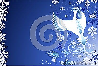 Christmas snow bird