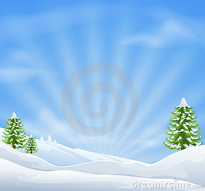 Free Christmas Snow Landscape Background Stock Photography - 23874772