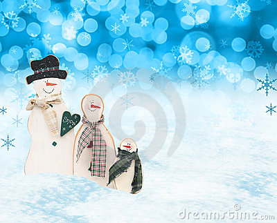 Christmas snow men scene