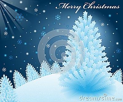 Christmas snow scene with xmas trees
