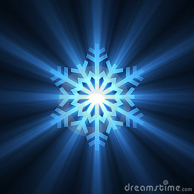 Christmas snowflake blue light flare