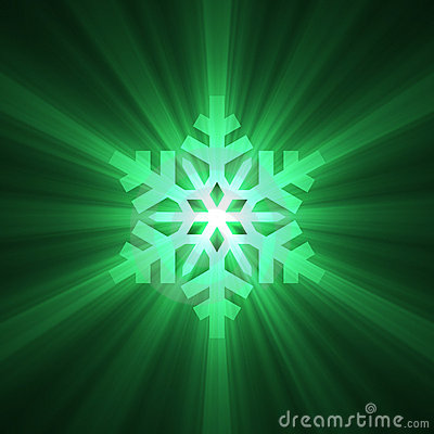 Christmas snowflake green light flare