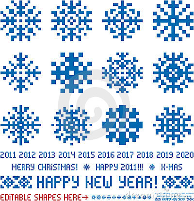 Christmas  snowflakes designs in pixel style