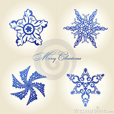 Christmas snowflakes  vintage decor blue